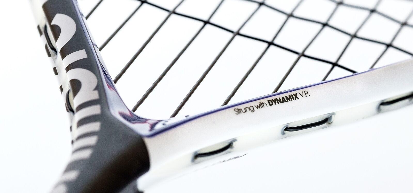 Tecnifibre Dynamix V.P. squash húrral húrozva