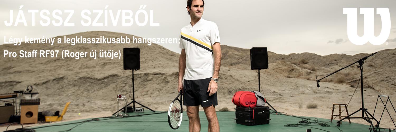 Roger Federer és fehér csíkos Wilson Pro Staff RF97 teniszütője