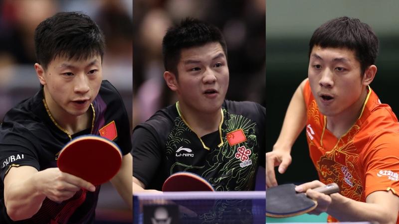 A pénzbírsággal sújtott három kínai szupersztár: Ma Long, Fan Zhendong és Xu Xin.