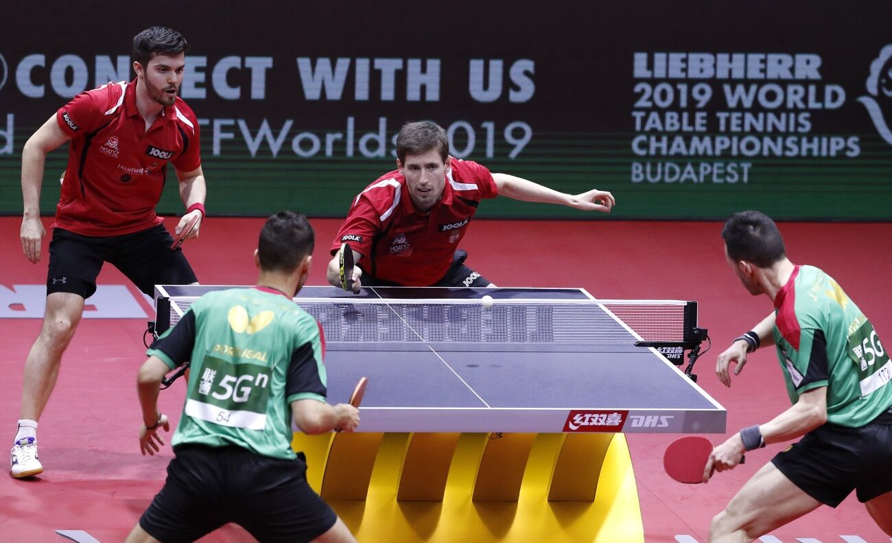 Ecseki és Szudi a budapesti világbajnokság férfi páros versenyében.