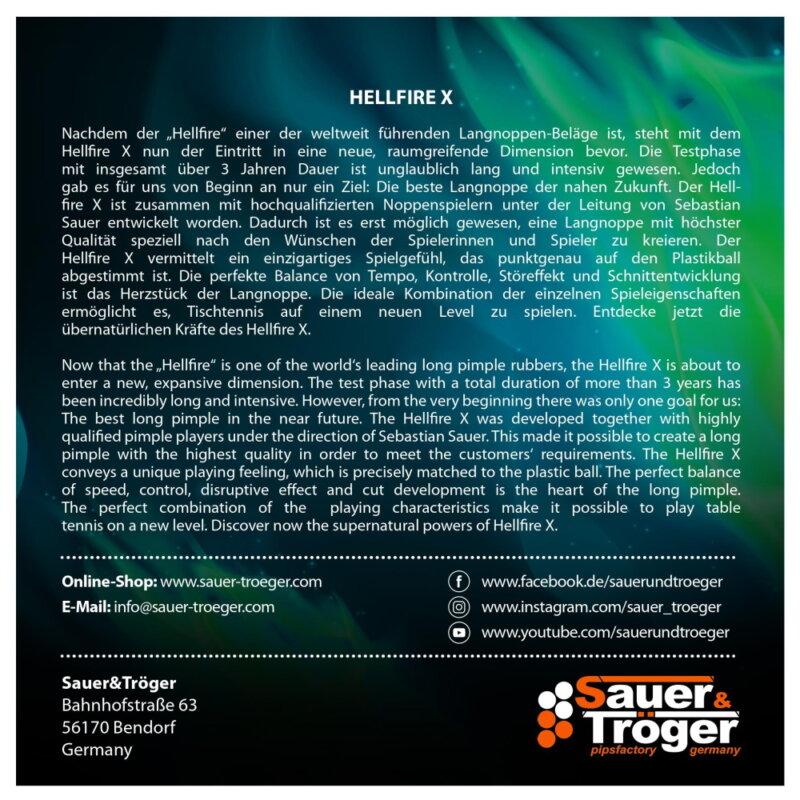 Sauer & Tröger Hellfire X asztalitenisz-borítás