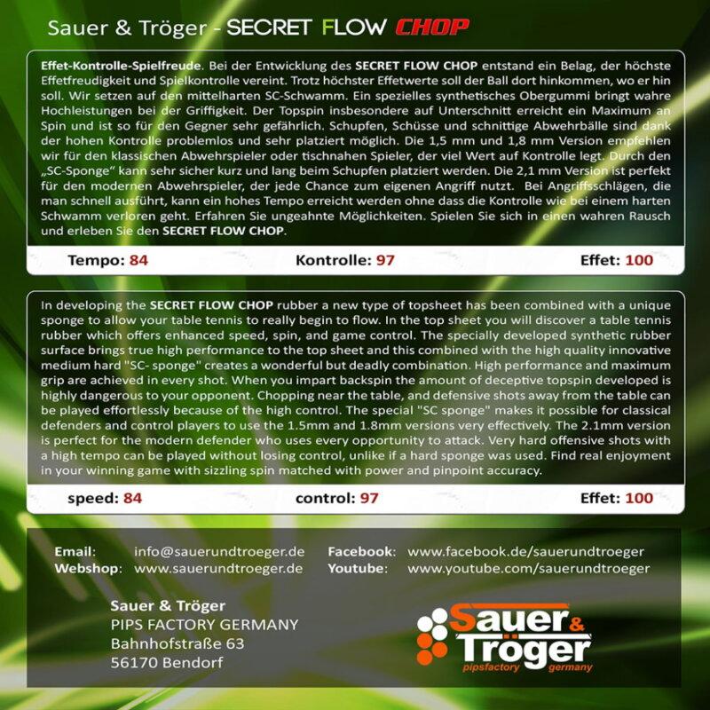 Sauer & Tröger Secret Flow Chop asztalitenisz-borítás