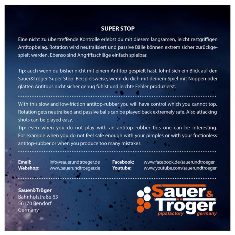 Sauer & Tröger Super Stop anti asztalitenisz-borítás borítójának hátoldala