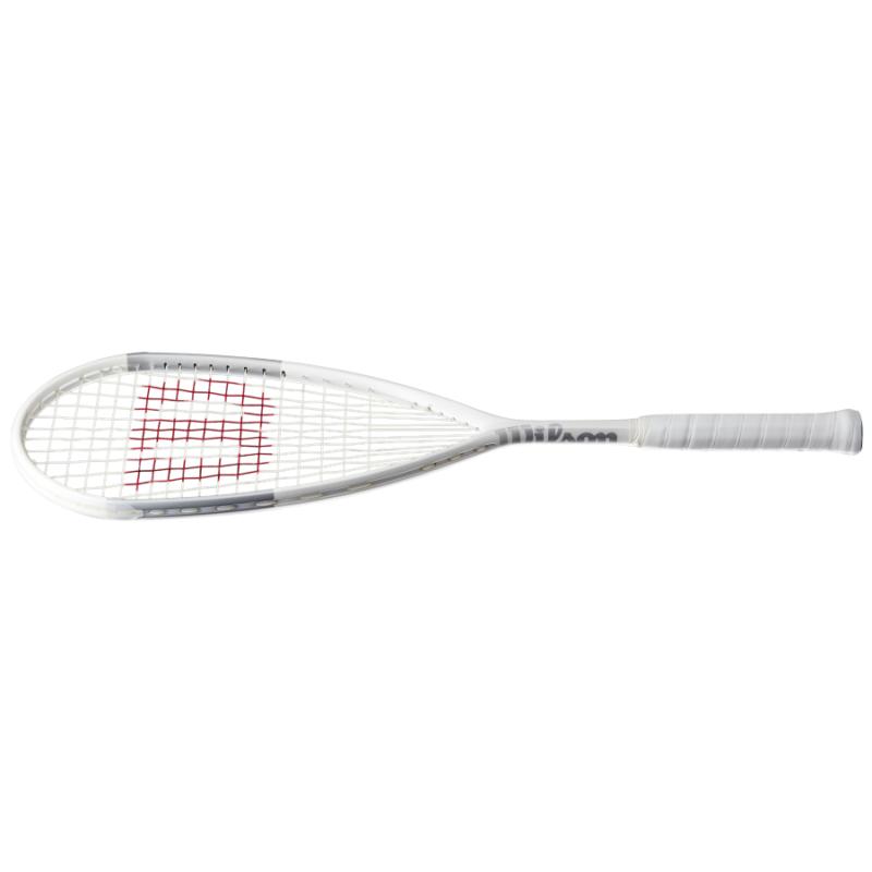 Wilson Tempest Lite fehér és ezüstszínű squash ütő fekvő
