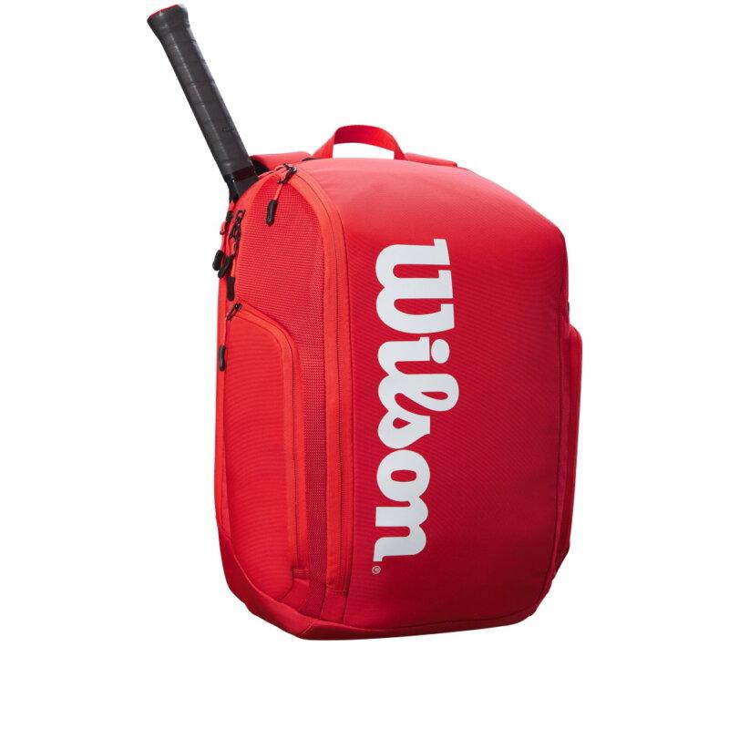 Wilson Super Tour piros hátitáska teniszütővel