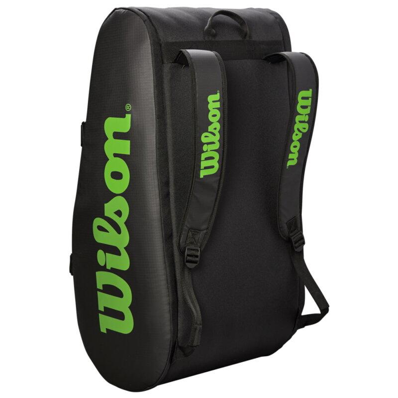 Wilson Tour 3 Comp feket-zöld ütőtáska álló helyzetben (hátitáska funkció)