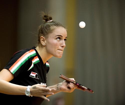 Pergel Szandra játszik a svéd Linda Bergström ellen az asztalitenisz Európa-bajnokság női selejtezőjében a Budaörsi Sportcsarnokban 2017. január 24-én.