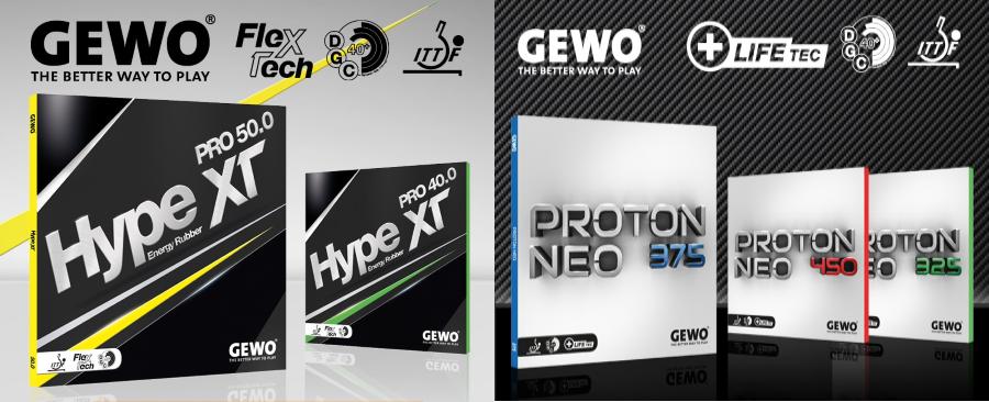 Gewo legújabb asztalitenisz-borításai: Hype XT és Neo Proton